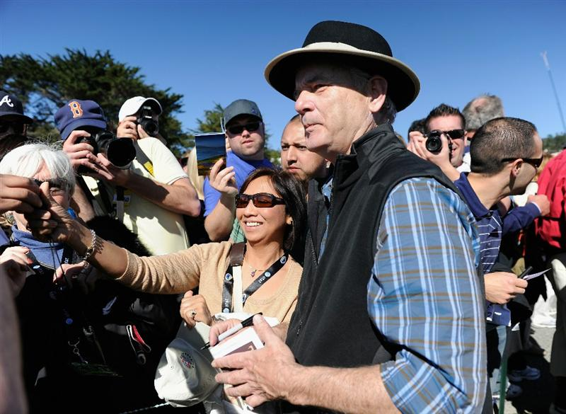 PEBBLE BEACH, CA - FEBRUARY 09:  Actor Bill Murray talks with fans during the 3M Celebrity Challenge at the AT&T Pebble Beach National Pro-Am at Pebble Beach Golf Links on February 9, 2011  in Pebble Beach, California.  (Photo by Stuart Franklin/Getty Images)