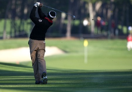 PEBBLE BEACH, CA - FEBRUARY 08: Vijay Singh of Fiji hits a shot during the second round of the At&T Pebble Beach National Pro-Am at Poppy Hills Golf Links on February 8, 2008 in Pebble Beach, California.  (Photo by Jed Jacobsohn/Getty Images)