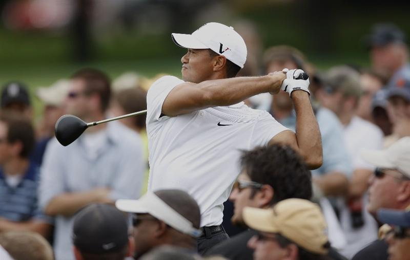 GRAND BLANC, MI - AUGUST 01:  Tiger Woods watches his tee shot on the 14th hole during the third round of the Buick Open at Warwick Hills Golf and Country Club on August 1, 2009 in Grand Blanc, Michigan.  (Photo by Gregory Shamus/Getty Images)