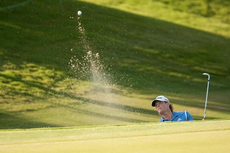 IRVING, TX - MAY 20: James Driscoll plays a bunker shot during the first round of the HP Byron Nelson Championship at TPC Four Seasons Resort Las Colinas on May 20, 2010 in Irving, Texas. (Photo by Darren Carroll/Getty Images)