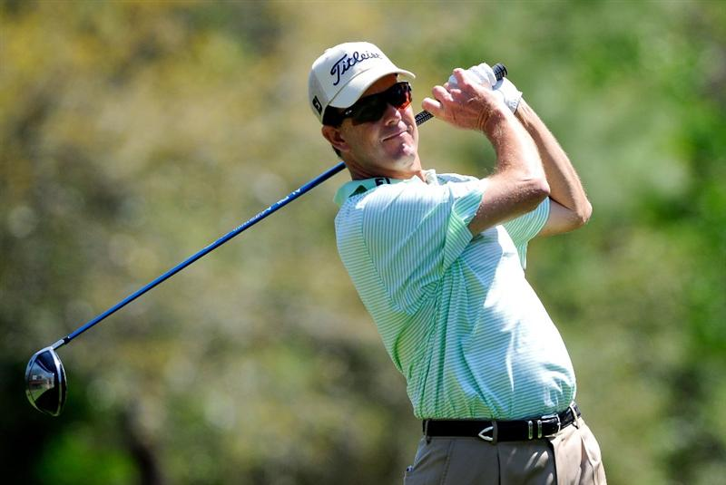 PALM HARBOR, FL - MARCH 20:  Stephen Leaney of Australia plays a shot on the 9th hole during the second round of the Transitions Championship at the Innisbrook Resort and Golf Club on March 20, 2009 in Palm Harbor, Florida.  (Photo by Sam Greenwood/Getty Images)