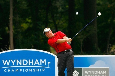 GREENSBORO, NC - AUGUST 17:  Carl Pettersson tees off the eighth hole during the final round of the 2008 Wyndham Championship at Sedgefield Country Club on August 17, 2008 in Greensboro, North Carolina.  (Photo by Kevin C. Cox/Getty Images)