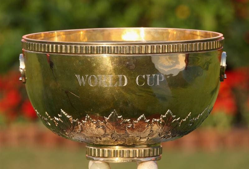 SHENZHEN, CHINA - NOVEMBER 26:  The World Cup trophy at the Omega Mission Hills World Cup at the Mission Hills Resort on November 26, 2008 in Shenzhen, China.  (Photo by Stuart Franklin/Getty Images)