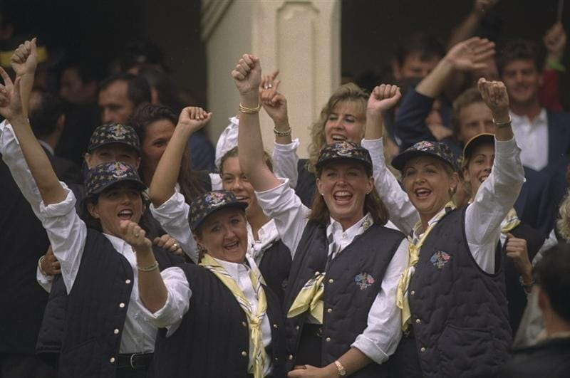 28 Sep 1997:  European team wives and girlfriends celebrate victory over the USA in the Johnnie Walker Ryder Cup at the Valderrama Golf Club in Sotogrande in Spain.  \ Mandatory Credit: Ross Kinnaird /Allsport