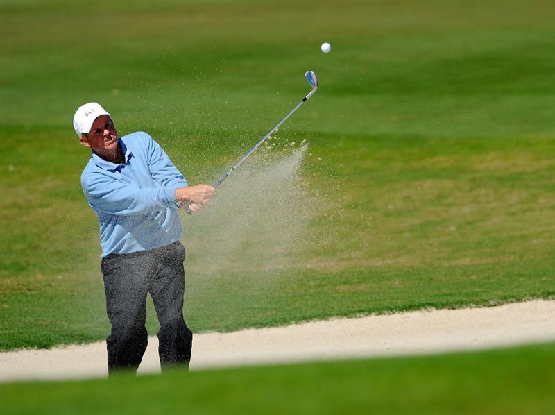 NAPLES, FL - FEBRUARY 21:  Wayne Levi plays a shot from the bunker on the 2nd hole during the second round of the ACE Group Classic at the TPC Treviso Bay on Februrary 21, 2009 in Naples, Florida.  (Photo by Sam Greenwood/Getty Images)