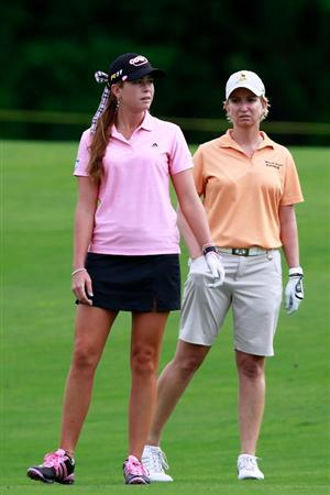 GLADSTONE, NJ - MAY 20: Paula Creamer and Karrie Webb of Australia stand on the fairway of the eighteenth hole during their match in round two of the Sybase Match Play Championship at Hamilton Farm Golf Club on May 20, 2011 in Gladstone, New Jersey. (Photo by Chris Trotman/Getty Images)