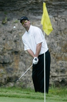 Chris Couch chips onto the eighth green during the final round of the National Mining Association Pete Dye Classic, Pete Dye Golf Club, Bridgeport, West Virginia, July 10th, 2005Photo by Hunter Martin/WireImage.com
