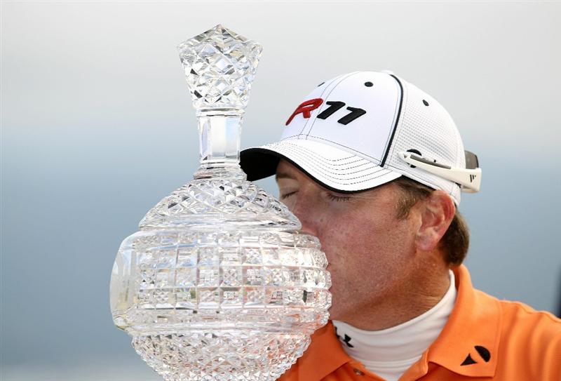 PEBBLE BEACH, CA - FEBRUARY 13:  D.A. Points holds the tournament trophy after he won the AT&T Pebble Beach National Pro-Am at the Pebble Beach Golf Links on February 13, 2011 in Pebble Beach, California.  (Photo by Ezra Shaw/Getty Images)