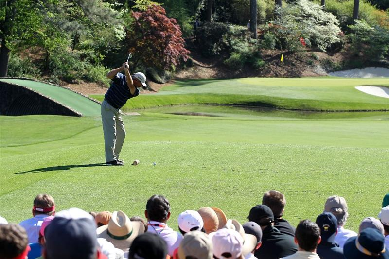 AUGUSTA, GA - APRIL 10:  Fred Couples plays his tee shot on the 12th hole during the third round of the 2010 Masters Tournament at Augusta National Golf Club on April 10, 2010 in Augusta, Georgia.  (Photo by Jamie Squire/Getty Images)