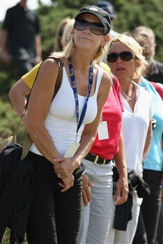 TROON, UNITED KINGDOM - JULY 24:  Chris Evert, the wife of Greg Norman, watches play during the first round of the Senior Open Championships at Royal Troon on July 24,2008 in Troon,Scotland.  (Photo by Ross Kinnaird/Getty Images)