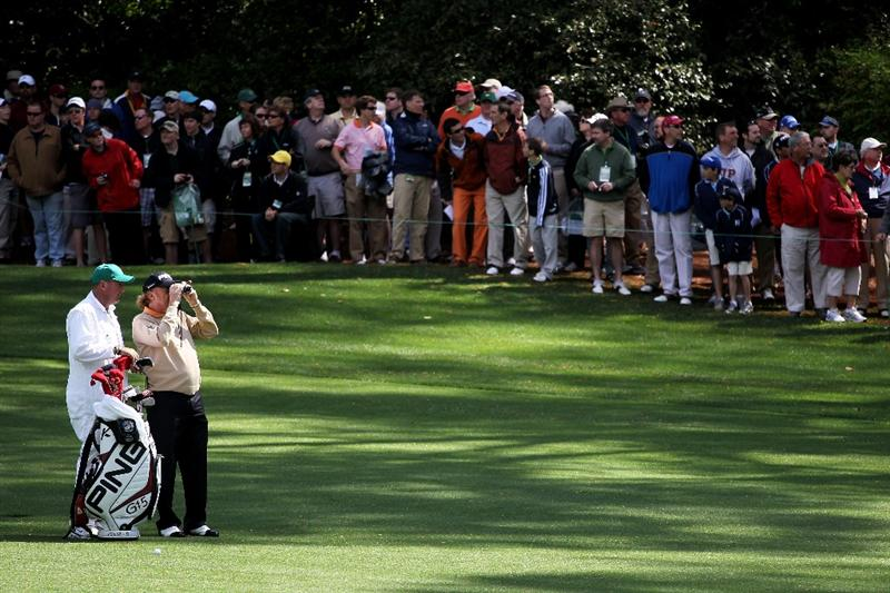 AUGUSTA, GA - APRIL 05:  Miguel Angel Jimenez of Spain and his caddie Mark Stannard look on during a practice round prior to the 2011 Masters Tournament at Augusta National Golf Club on April 5, 2011 in Augusta, Georgia.  (Photo by Jamie Squire/Getty Images)