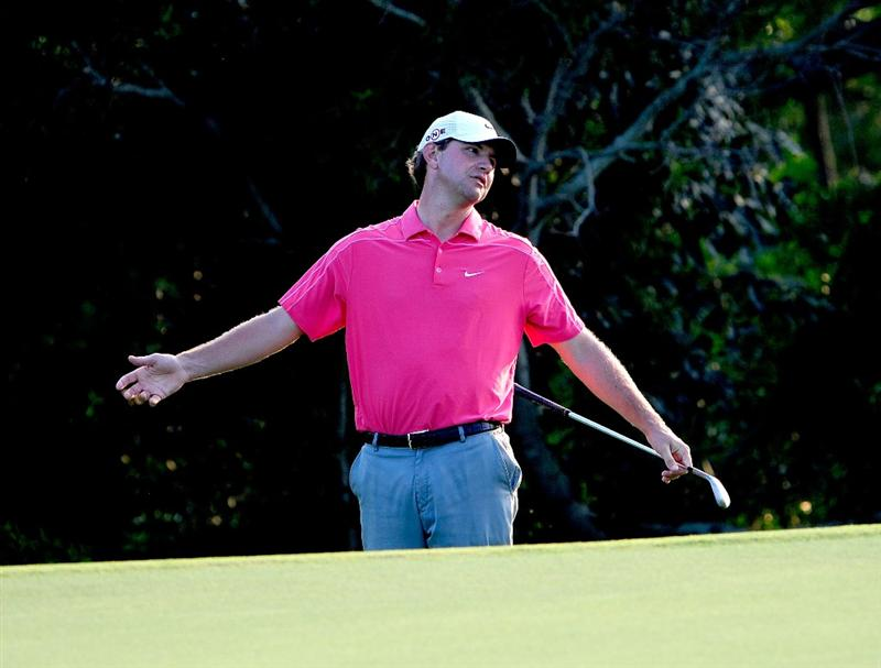 KAPALUA, HI - JANUARY 09:  Lucas Glover reacts to a shot on the 17th hole during the third round of the SBS Championship at the Plantation course on January 9, 2010 in Kapalua, Maui, Hawaii.  (Photo by Sam Greenwood/Getty Images)
