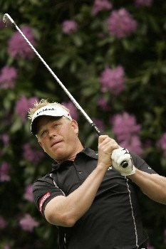 Peter Hedblom watches his tee shot during the final round of the 2005 BMW Championship at Wentworth Golf Club's West Course. May 29, 2005Photo by Pete Fontaine/WireImage.com