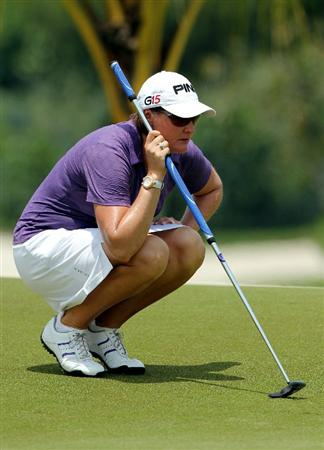 KUALA LUMPUR, MALAYSIA - OCTOBER 23 : Maria HJorth of Sweden lines up for a putt on the 9th hole during Round Two of the Sime Darby LPGA on October 23, 2010 at the Kuala Lumpur Golf and Country Club in Kuala Lumpur, Malaysia. (Photo by Stanley Chou/Getty Images)