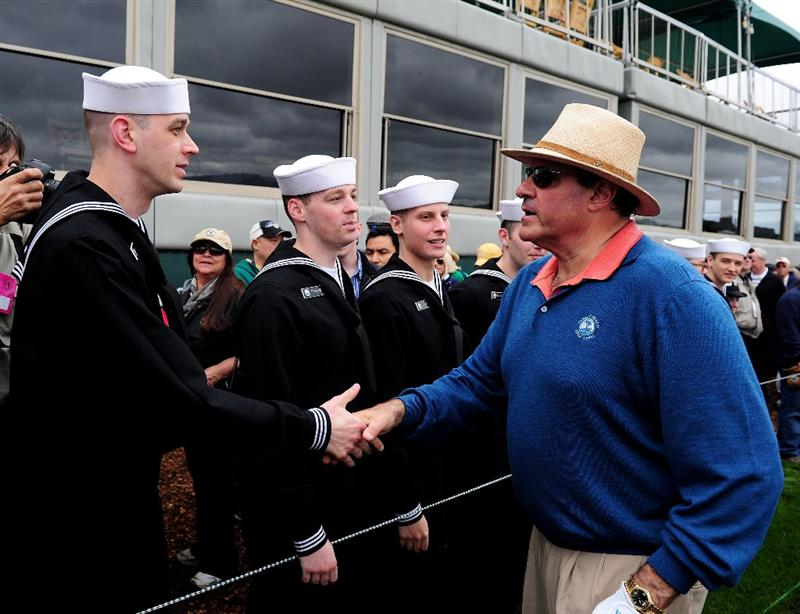 PEBBLE BEACH, CA - FEBRUARY 10:  Chris Berman greets U.S. Navy personnel during the 3M Celebrity Challenge at the AT&T Pebble Beach National Pro-Am at Pebble Beach Golf Links on February 10, 2010 in Pebble Beach, California.  (Photo by Stuart Franklin/Getty Images)