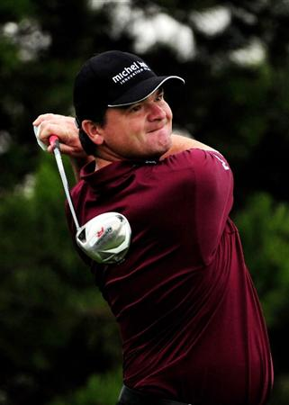 VIENNA, AUSTRIA - SEPTEMBER 17:  Paul Lawrie of Scotland tee's off at the 15th during the first round of the Austrian Golf Open at Fontana Golf Club on September 17, 2009 in Vienna, Austria.  (Photo by Richard Heathcote/Getty Images)
