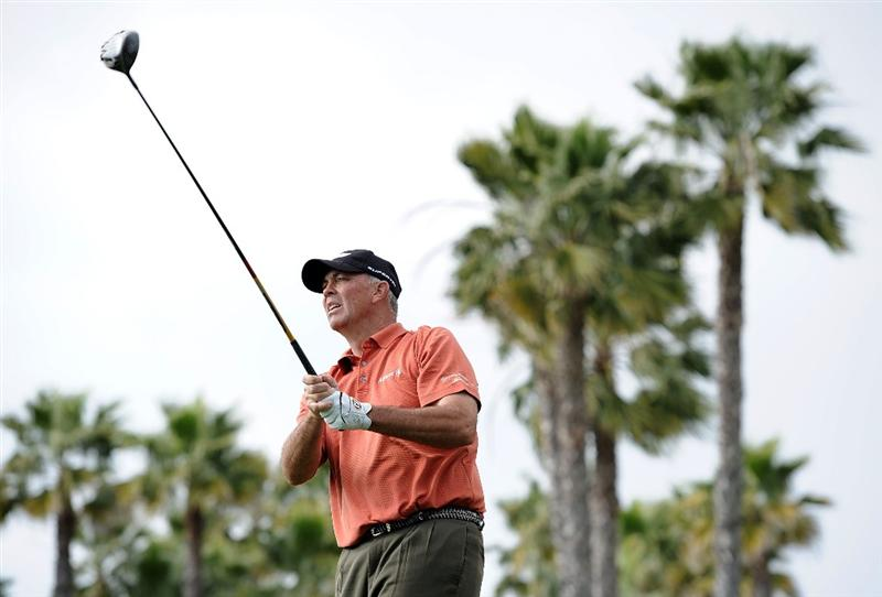 NEWPORT BEACH, CA - MARCH 07:  Tom Lehman watches his tee shot on the 14th hole during the third round of the Toshiba Classic at the Newport Beach Country Club on March 7, 2010 in Newport Beach, California.  (Photo by Harry How/Getty Images)