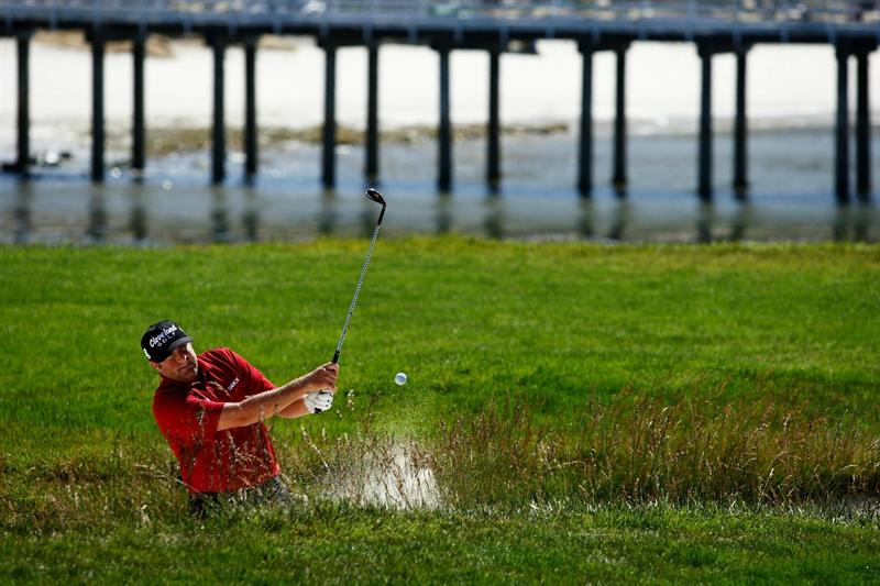 PEBBLE BEACH, CA - JUNE 16:  Steve Marino plays a bunker shot during a practice round prior to the start of the 110th U.S. Open at Pebble Beach Golf Links on June 16, 2010 in Pebble Beach, California.  (Photo by Donald Miralle/Getty Images)