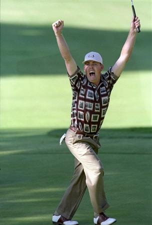 26 Sep 1999:  Justin Leonard of the USA celebrates holing a long birdie putt on the 17th green during the final day of the 33rd Ryder Cup at Brookline Country Club, Boston, Massachusetts, USA. \ Mandatory Credit: Rusty Jarrett /Allsport