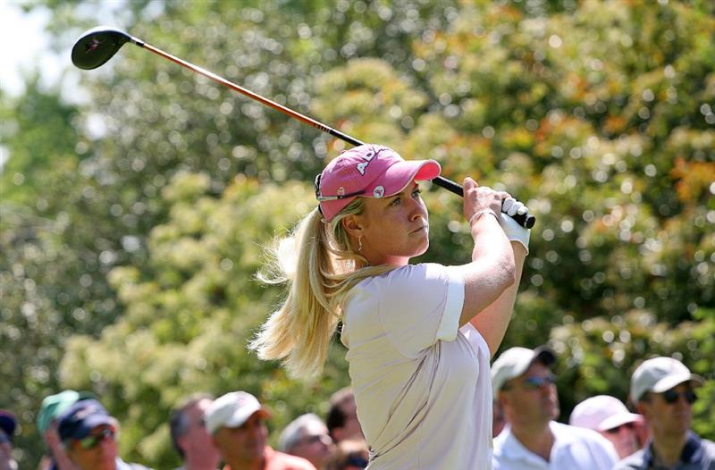 CLIFTON, NJ - MAY 15 : Brittany Lincicome hits her tee shot on the 18th hole during the second round of the Sybase Classic presented by ShopRite at Upper Montclair Country Club on May 15, 2009 in Clifton, New Jersey. (Photo by Hunter Martin/Getty Images)