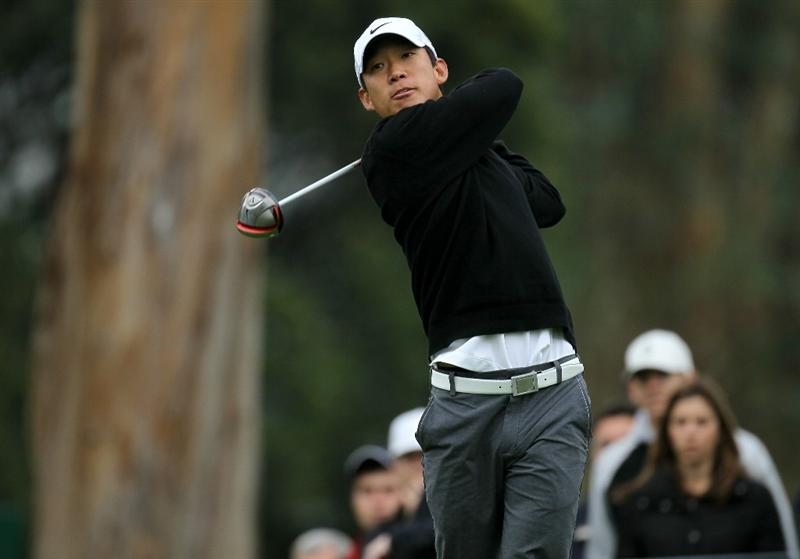 PACIFIC PALISADES, CA - FEBRUARY 18:  Anthony Kim hits his tee shot on the ninth hole during round two of the Northern Trust Open at Riviera Country Club on February 18, 2011 in Pacific Palisades, California.  (Photo by Stephen Dunn/Getty Images)
