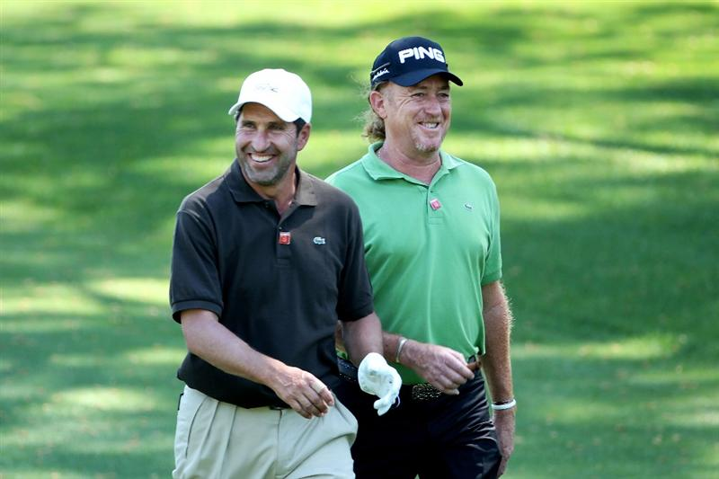 AUGUSTA, GA - APRIL 04:  Jose Maria Olazabal (L) Miguel Angel Jimenez of Spain walk up a fairway during a practice round prior to the 2011 Masters Tournament at Augusta National Golf Club on April 4, 2011 in Augusta, Georgia.  (Photo by Andrew Redington/Getty Images)