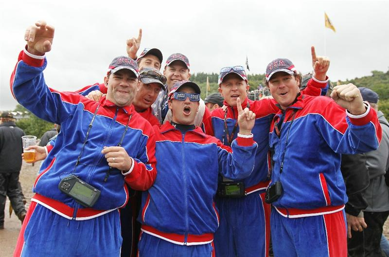 NEWPORT, WALES - OCTOBER 02:  USA fans show their support during the rescheduled Afternoon Foursome Matches during the 2010 Ryder Cup at the Celtic Manor Resort on October 2, 2010 in Newport, Wales.  (Photo by Andy Lyons/Getty Images)
