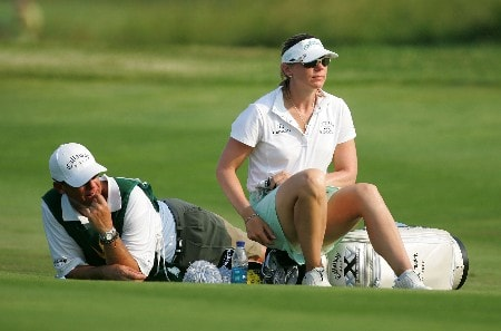 HAVRE DE GRACE, MD - JUNE 08:  Annika Sorenstam of Sweden and her caddie wait to hit on the par 5 8th hole during the second round of the McDonalds LPGA Championship at Bulle Rock golf course on June 8, 2007 in Havre de Grace, Maryland.  (Photo by Andy Lyons/Getty Images)