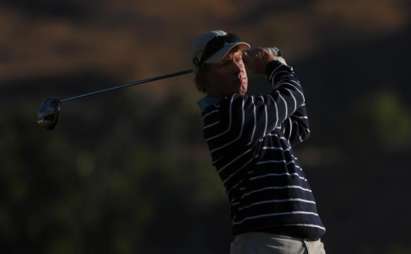 SAN JACINTO, CA - OCTOBER 02: Jeff Hart makes a tee shot during the second round of the 2009 Soboba Classic at The Country Club at Soboba Springs on October 2, 2009 in San Jacinto, California.  (Photo by Robert Laberge/Getty Images)
