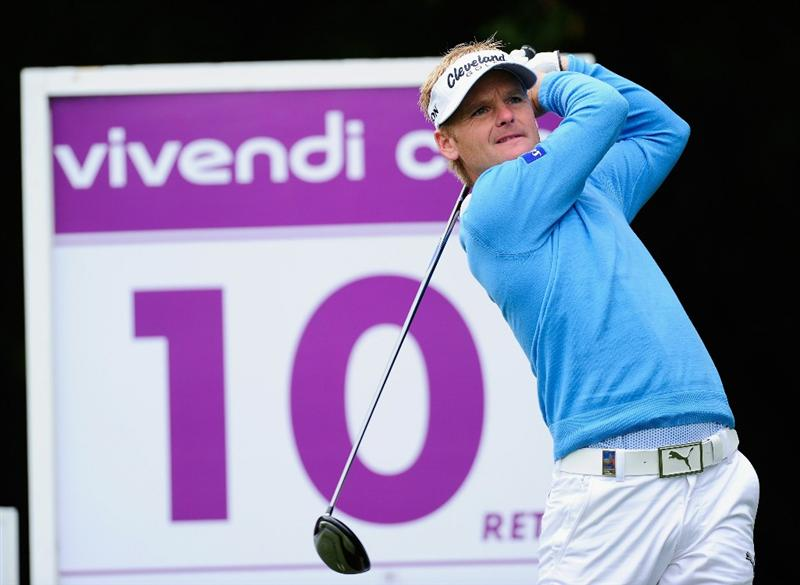 PARIS - SEPTEMBER 24:  Soren Kjeldsen of Denmark plays his tee shot on the 10th hole during the second round of the Vivendi cup at Golf de Joyenval on September 24, 2010 in Chambourcy, near Paris, France.  (Photo by Stuart Franklin/Getty Images)