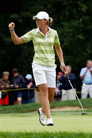 SUGAR GROVE, IL - AUGUST 22:  Gwladys Nocera of the European Team reacts after putting in for par on the 12th hole during the Saturday afternoon Foursomes matches at the 2009 Solheim Cup at Rich Harvest Farms on August 22, 2009 in Sugar Grove, Illinois.  (Photo by Chris Graythen/Getty Images)