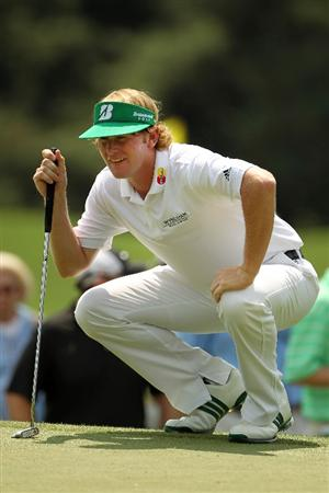 AUGUSTA, GA - APRIL 09:  Brandt Snedeker lines up a putt on the first green during the third round of the 2011 Masters Tournament at Augusta National Golf Club on April 9, 2011 in Augusta, Georgia.  (Photo by Jamie Squire/Getty Images)