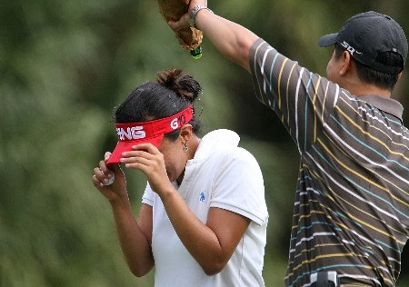 DAYTONA BEACH, FL - DECEMBER 02:  Jane Park is showered with champagne by her manager Michael Yim on the 18th green during the final round of the 2007 LPGA Qualifying Tournament at LPGA International on December 2, 2007 in Daytona Beach, Florida  (Photo by Scott Halleran/Getty Images)