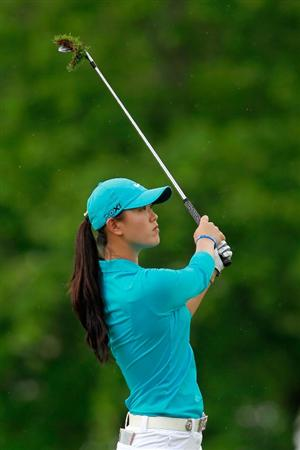 GLADSTONE, NJ - MAY 20: Michelle Wie hits her second shot on the first playoff hole against Anna Nordqvist of Sweden in round two of the Sybase Match Play Championship at Hamilton Farm Golf Club on May 20, 2011 in Gladstone, New Jersey. (Photo by Chris Trotman/Getty Images)