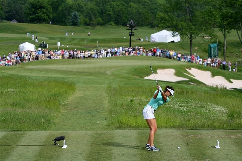 GLADSTONE, NJ - MAY 22: Michelle Wie hits her tee shot on the sixteenth hole during the third round of the Sybase Match Play Championship at Hamilton Farm Golf Club on May 22, 2010 in Gladstone, New Jersey. (Photo by Hunter Martin/Getty Images)