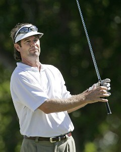 Paul Azinger follows his drive on the 1st tee during the final round of the Sony Open in Hawaii held at Waialae Country Club in Honolulu, Hawaii, on January 14, 2007.