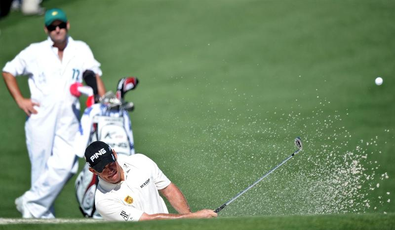 AUGUSTA, GA - APRIL 07:  Lee Westwood of England hits from a bunker on the second hole during the first round of the 2011 Masters Tournament at Augusta National Golf Club on April 7, 2011 in Augusta, Georgia.  (Photo by Harry How/Getty Images)