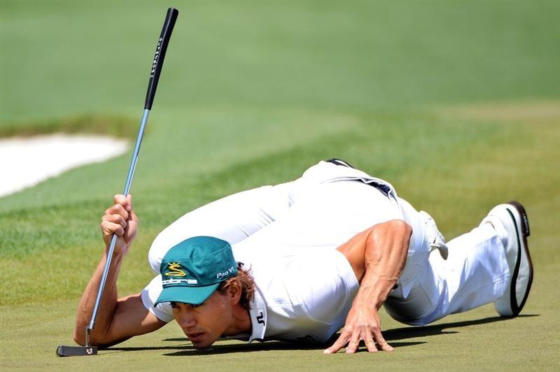 AUGUSTA, GA - APRIL 12:  Camilo Villegas of Colombia lines up a putt on the second green during the final round of the 2009 Masters Tournament at Augusta National Golf Club on April 12, 2009 in Augusta, Georgia.  (Photo by Harry How/Getty Images)