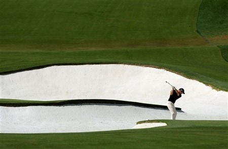 AUGUSTA, GA - APRIL 13:  Paul Casey of England hits his second shot on the eighth hole during the final round of the 2008 Masters Tournament at Augusta National Golf Club on April 13, 2008 in Augusta, Georgia.  (Photo by Harry How/Getty Images)