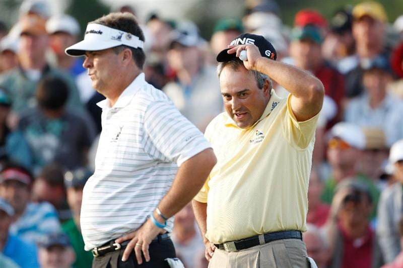 AUGUSTA, GA - APRIL 12:  Kenny Perry and Angel Cabrera of Argentina wait on the first sudden death playoff hole during the final round of the 2009 Masters Tournament at Augusta National Golf Club on April 12, 2009 in Augusta, Georgia.  (Photo by Jamie Squire/Getty Images)