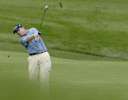 Shaun Micheel hits his approach shot to the fifth hole during the second round of the 2005 84 Lumber Classic on Friday, September 16, 2005 held at the Mystic Rock Golf Course/Nemacolin Woodlands Resort in Farmington, Pennsylvania.Photo by Marc Feldman/WireImage.com