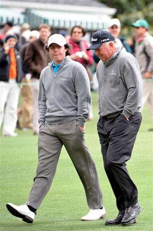 AUGUSTA, GA - APRIL 07:  Rory McIlroy of Northern Ireland walks with Mark O'Meara during a practice round prior to the 2009 Masters Tournament at Augusta National Golf Club on April 7, 2009 in Augusta, Georgia.  (Photo by Harry How/Getty Images)