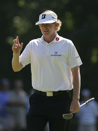 NORTON, MA - SEPTEMBER 04:  Brandt Snedeker of the United States reacts to his putt on the fifth green during the first round of the Deutsche Bank Championship at TPC Boston held on September 4, 2009 in Norton, Massachusetts.  (Photo by Michael Cohen/Getty Images)
