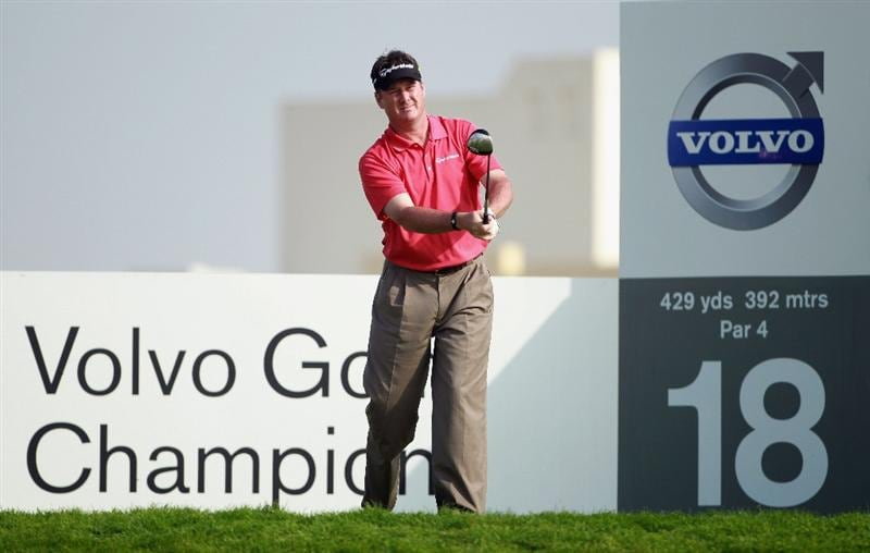 BAHRAIN, BAHRAIN - JANUARY 29:  Todd Hamilton of the USA hits his tee-shot on the 18th hole during the third round of the Volvo Golf Champions at The Royal Golf Club on January 29, 2011 in Bahrain, Bahrain.  (Photo by Andrew Redington/Getty Images)
