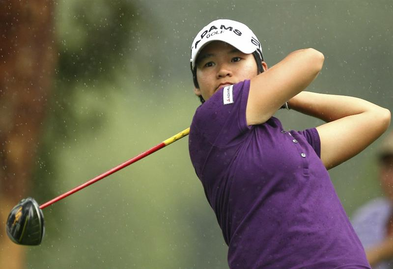 MELBOURNE, AUSTRALIA - FEBRUARY 04:  Yani Tseng of Taiwan plays a tee shot  during day two of the Women's Australian Open at The Commonwealth Golf Club on February 4, 2011 in Melbourne, Australia.  (Photo by Lucas Dawson/Getty Images)