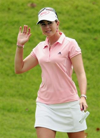 SINGAPORE - FEBRUARY 27:  Paula Creamer of the USA reacts to a birdie putt on the 12th hole during the final round of the HSBC Women's Champions 2011 at the Tanah Merah Country Club on February 27, 2011 in Singapore, Singapore.  (Photo by Scott Halleran/Getty Images)