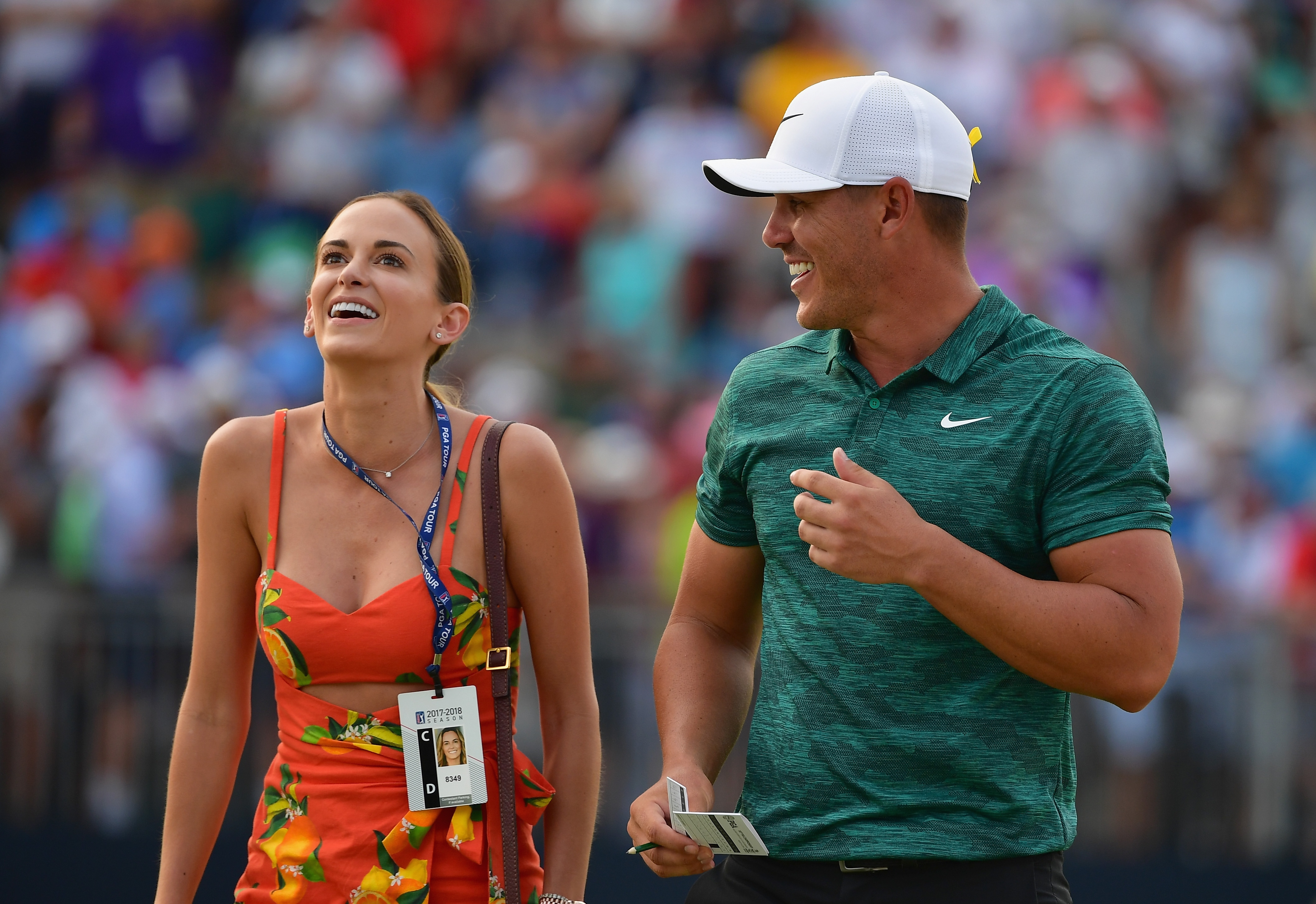 Jena Sims and Brooks Koepka at the 2018 PGA Championship