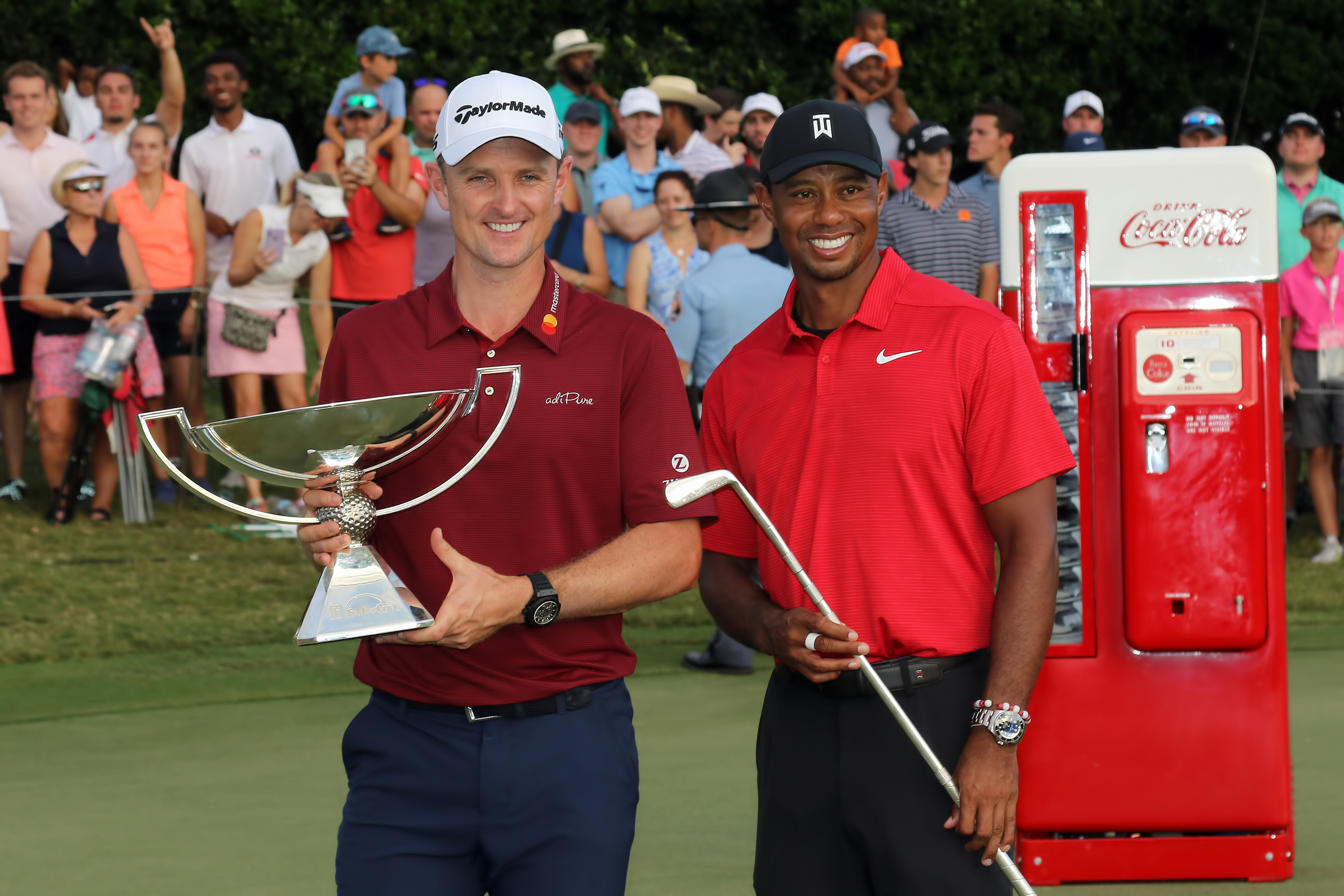 Justin Rose and Tiger Woods at the 2018 Tour Championship