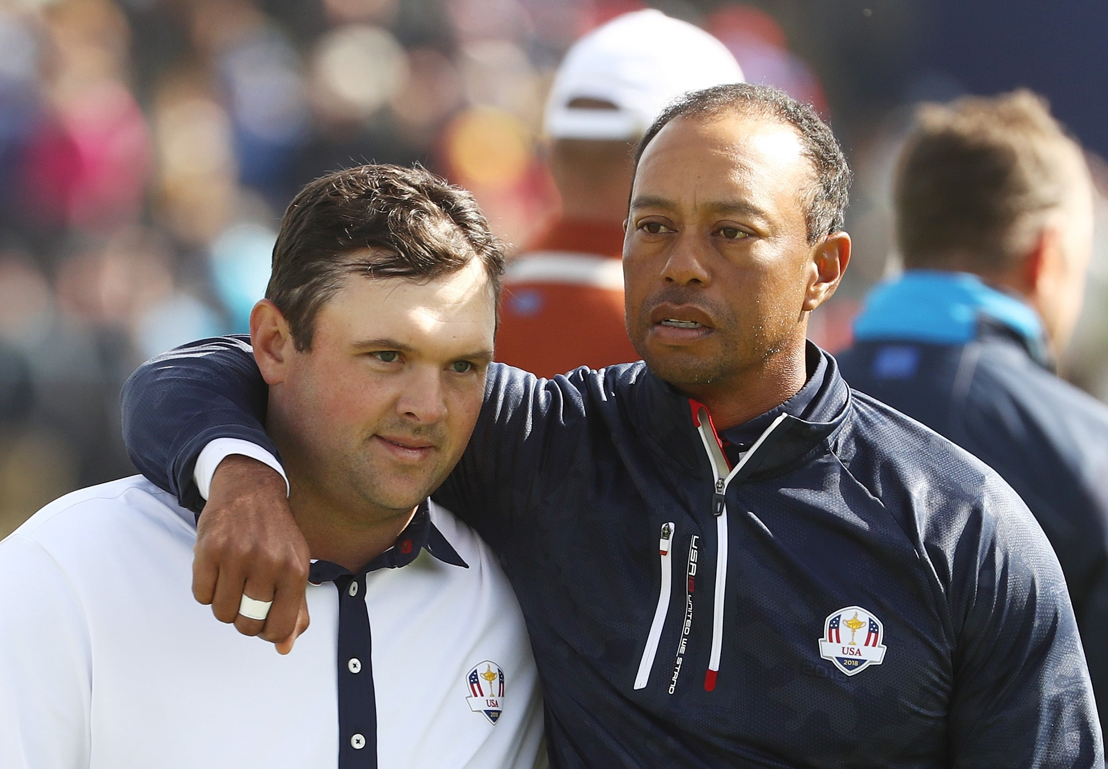 Patrick Reed and Tiger Woods at the 2018 Ryder Cup