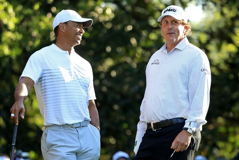 Woods and Mickelson play Masters practice round together